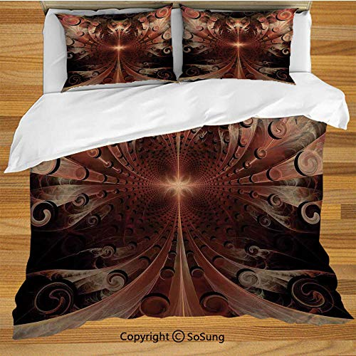 Fractal Queen Size Bedding Duvet Cover Set,Gothic Medieval Heraldic Ornamental Background Middle Age Knight Aged Artwork Print Decorative Decorative 3 Piece Bedding Set with 2 Pillow Shams,Copper