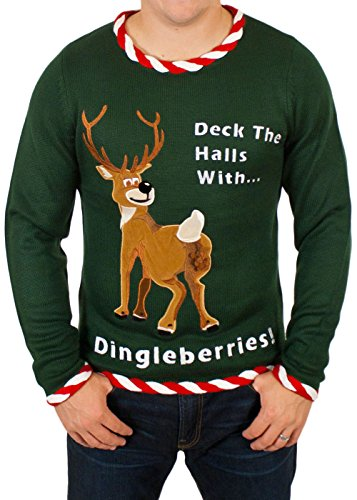 96d442f383ea Reindeer Dingleberries Sweater in Green - Ugly Christmas Sweater ...