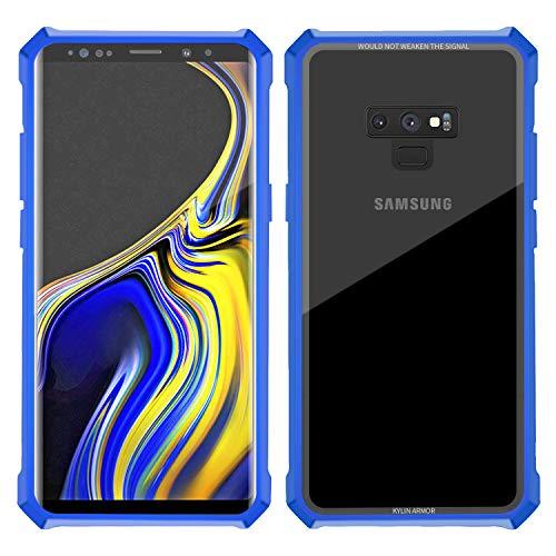 9 case Hybrid Metal Bumper Anti-Scratch HD Transparent Gorilla Glass Black Cover Ultra Slim Tough Shockproof Heavy Duty case for Note 9 N960U (Note 9, Blue) ()