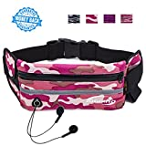 Running Pouch Belt Waist Pack Runners Belt Fanny Pack for iPhone 8 7 6 Plus Water Resistant Sport Belt Bag with Bottle Holder Great for Cycling Hiking Jogging Travel Outdoor Activites