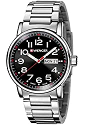 Wenger 01.0341.104 Men's Attitude Stainless Bracelet Band Black Dial Silver Watch