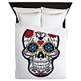 Queen Duvet Cover Floral Sugar Skull Day of the Dead
