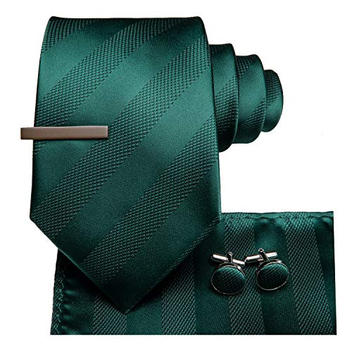 Dubulle Mens Hunter Green Ties and Pocket Square Dark Green Necktie with Brown Clips ()
