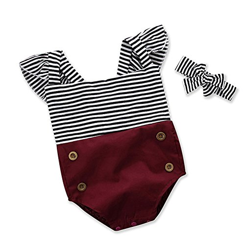 BabiBeauty Baby Girls Stripes Patchwork Flying Sleeve Backless Romper with Headband (Wine, 90/12-18 - Onesie Striped Pink