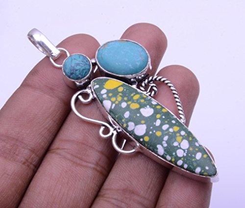 Nimbark Spiritual Jewelry Mosaic Jasper with Green Turquoise Handmade Pendant 3