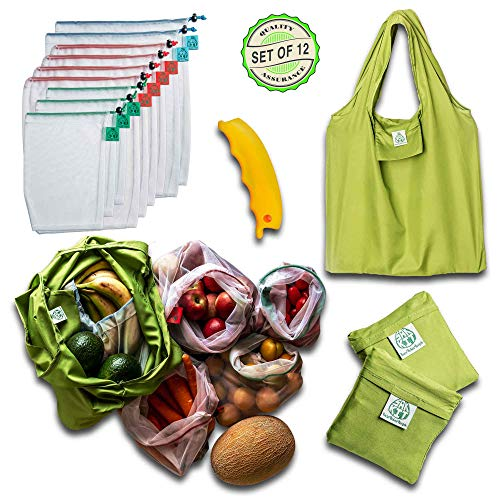 - Reusable Produce Bags-Reusable grocery Bags-Set of 12 PCS Foldable tote w/Bonus Silicon Handle, Premium See-through Bag, Zero Waste Eco-Friendly products, Toy Storage, Food Storage, Mesh vegetable bag