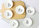 #2: Super Cute Cat Ceramic Sauce Dish,Mini Side Seasoning Dish,Condiment Dishes,Sushi Soy Dipping Bowl,Snack Serving Dishes,Meow Porcelain Small Saucer Set(Set of 6) (Sauce Dish)