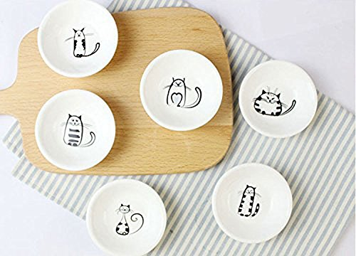 Super Cute Cat Ceramic Sauce Dish,Mini Side Seasoning Dish,Condiment Dishes,Sushi Soy Dipping Bowl,Snack Serving Dishes,Meow Porcelain Small Saucer Set(Set of 6) (Sauce Dish)