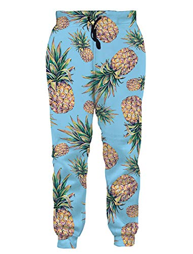 Loveternal Mens Gym Joggers XL Sweatpants 3D Loose Cute Workout Joggers for Boys Women Yellow Pineapple Jogger Pants Girl Sweatpants Slim Fit 90s Outfits Pants
