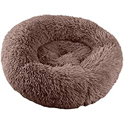 JQjian Pet Dog Bed Cat Cushion Dog Sofa Orthopedic Dog Bed Ultra Soft Warming Cushion Pet Bed Round Oval Nest Lounger Pet Bed for Dog (L, Brown)