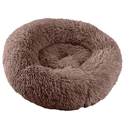 Dog Cat Round Bed Fluffy Fur Comfy & Soft Sleeping Bed Plush Calming Cuddler (S, Brown)