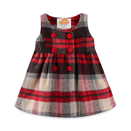(Mud Kingdom Toddler Girl Dresses Red Plaid Winter Wool 4T)