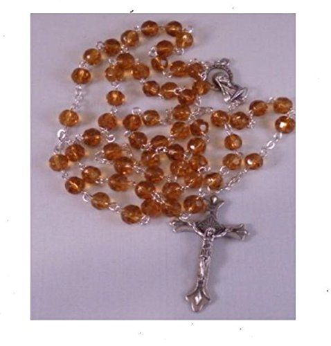 Glass Crystal Beads Rosary with Holy Soil Mary of Jerusalem Silver Crucifix (Topaz)