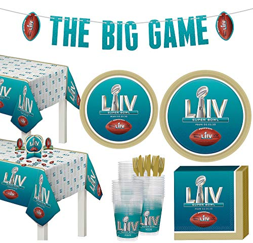 Party City Super Bowl Deluxe Tableware Supplies for 72 Guests, Include Plates, Napkins, Table Covers, and Decorations