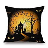 ABlevel 45x45cm Halloween Day Gift Room Home Decor Scary Skull with Red Hat Black Throw Pillows Cover Burlap Cushion Cover (Style 8)