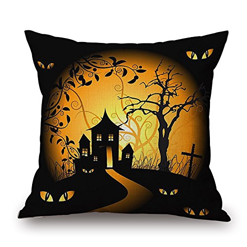 ablevel 45x45cm halloween day gift room home decor scary skull with red hat black throw pillows cover burlap cushion cover style 8 - Disney Halloween Decor
