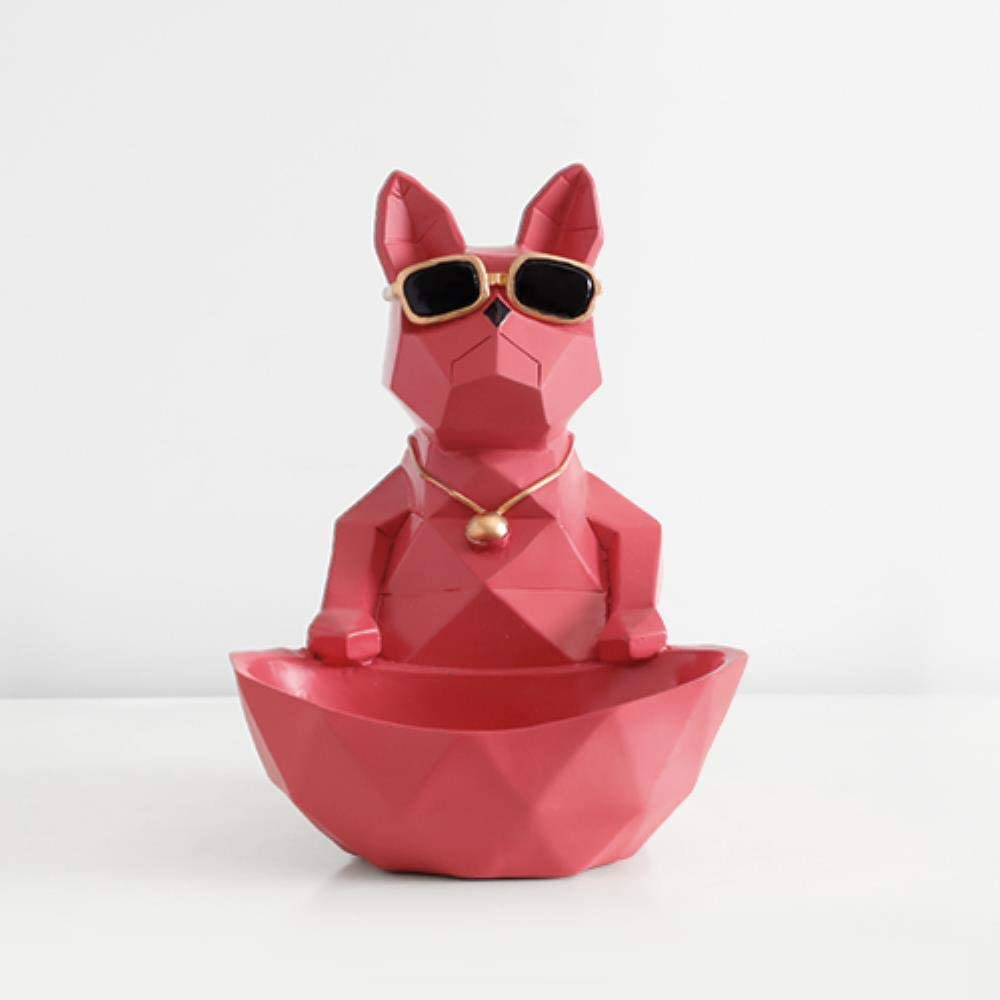 Gato Perro Figuras Resina Moden Manualidades Animales Miniatura lindos adornos para la decoraci/ón de la oficina en el hogar Recipiente de almacenamiento Tallado Coleccionable L Figura de gato azul