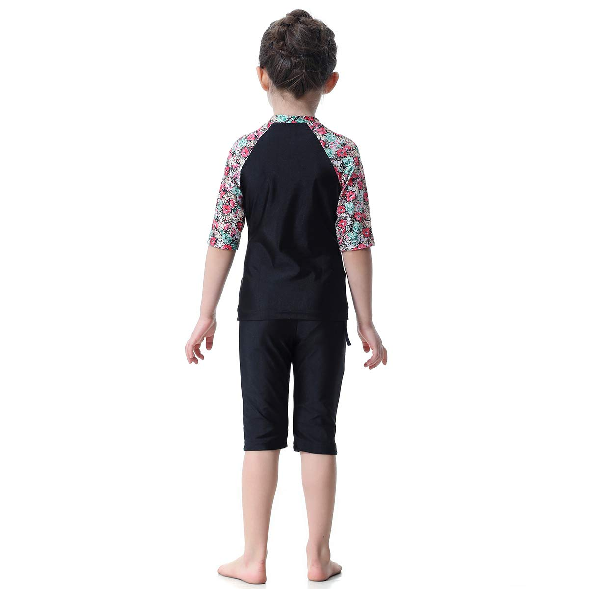 1 Pc Muslim Arab Girls Swimsuit Short-Sleeved Top and Short Suit Conservative Split Swimwear H2006 for Girls and Teens-90cm Black