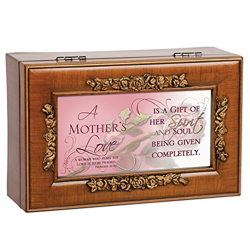 Cottage Garden Mother's Love Inspirational Decorative Woodgrain Rose Music Box - Plays How Great Thou Art by Cottage Garden (Image #1)