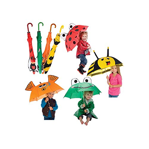 - 4 Pk Kids Umbrella - Ladybug, Frog, Bee and Goldfish for Boys and Girls