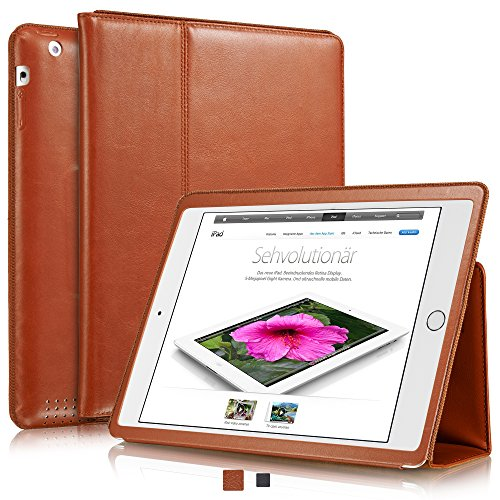 KAVAJ Leather iPad 2/3/4 Case Cover Berlin for Apple iPad 4, iPad 3, iPad 2 Cognac-Brown Genuine Cowhide Leather with Built-in Stand Auto Wake/Sleep Function. Slim Fit Smart Folio Covers iPad 2/3/4 (Best Leather Ipad 3 Case)