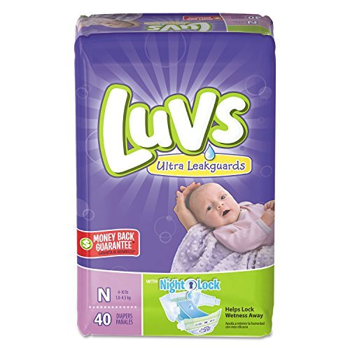 Luvs Ultra Leakguards Diapers with Night Lock, Size N 40 ea (Pack of 4)