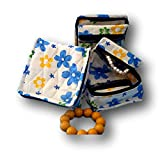 Cosmetic Organizer Jewelry Organizer Travel Pouch in Beautiful Yellow Blue Floral Design Made with Quilted Cotton