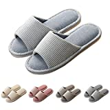 MiYang Home Slipper Open Toe Striped Memory Foam Cotton Washable for Men and Women Sapphire Blue 4-5 B(M) US