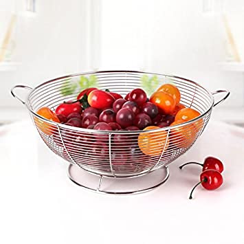 Bello Fruit Basket Cocina Salón Plato de fruta de la fruta del acero inoxidable cuenco placa Equipaje carro generoso: Amazon.es: Hogar