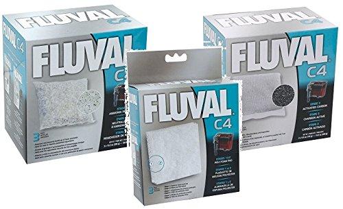 C4 Carbon (Fluval C4 Filter Media Bundle: Carbon 3-pk, Ammonia Remover 3-pk, Foam Pad)