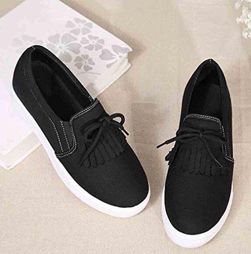 Le Comode Scarpe Da Donna Easyemax Frangia Elastico Silp Sulle Sneakers A Piattaforma Tacco Basso A Punta Tonda Nera