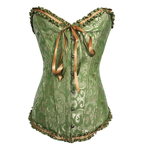 Laimeng_world Women's Satin Lace Up Overbust Plus Size Corset Waist Cincher Bustier Top (Green, 6XL) ()