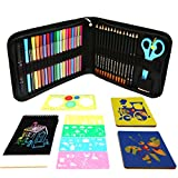 Colored Pens Art Drawing Set For Kids,Stencils For Painting,Children's Learning Educational Supplies,Includes Scratch Art Activity Books,Watercolor Pencils ,Personalised Pencil Case,The Perfect Kids Gift For Any Occasion!