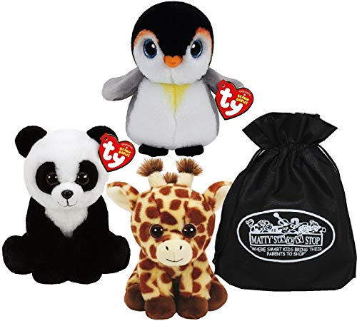 (Ty Beanie Babies Peaches (Giraffe), Baboo (Panda) & Pongo (Penguin) Gift Set Bundle with Bonus Matty's Toy Stop Storage Bag - 3 Pack )