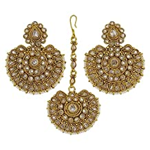 Matra Indian Traditional Women Party Goldtone Kundan Maang Tikka Earring Set Jewelry