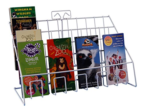 Leaflet Display Stands (Stand-Store Counter Display Stand for Mixed Sized Greeting Card/Leaflet/DVD's - White)
