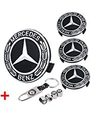 Wheel Center Hub Caps Emblem Fit for Merced-ES-Ben-z, 4 Pcs 2.95 inch/75mm Rim Hub Cap Cover with 4 Tire Valve Covers and 1 Wrench Key Chain
