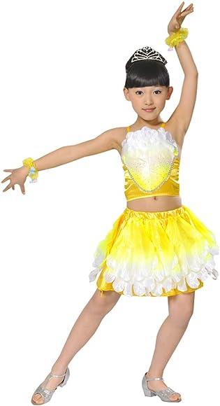 BOZEVON Traje de Baile para Niños - Niña Lentejuelas Pétalos Falda ...
