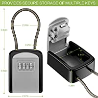 Warehouse New Version 5 Key Capacity for Home Indoor /& Outdoor KeeKit Key Lock Box Resettable Code Key Storage Lock Box Waterproof with 4 Digit Combination Key Safe Box with Removable Chain