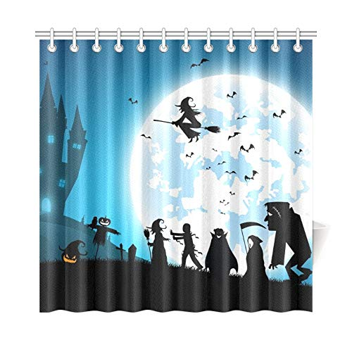 WUTMVING Home Decor Bath Curtain Blue Festival Halloween