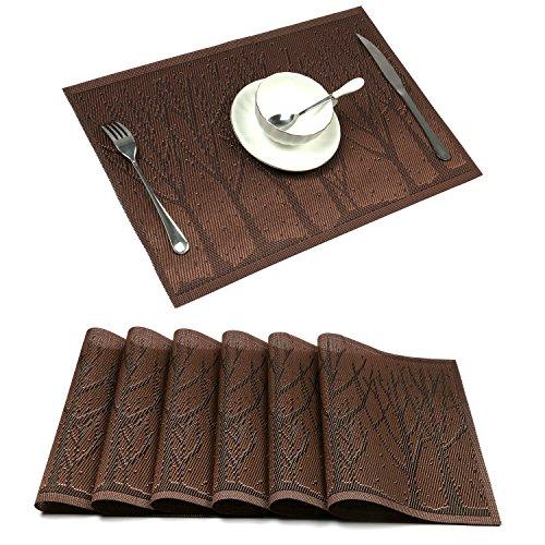 Placemat,U'Artlines Crossweave Woven Vinyl Non-slip Insulation Placemat Washable Table Mats Set (6pcs placemats, Coffee Tree)