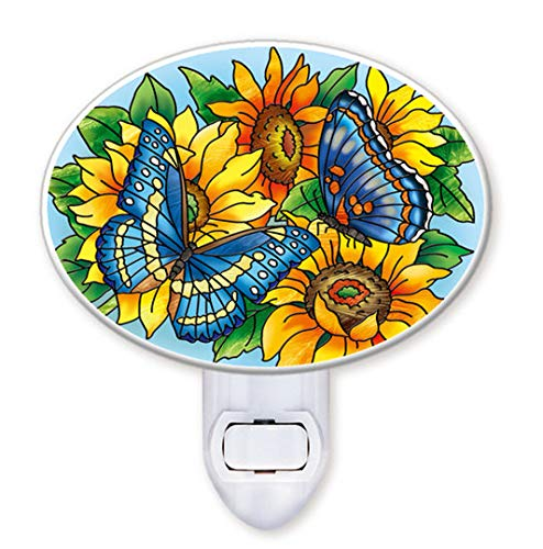 Amia Butterfly and Sunflower Glass Night Light
