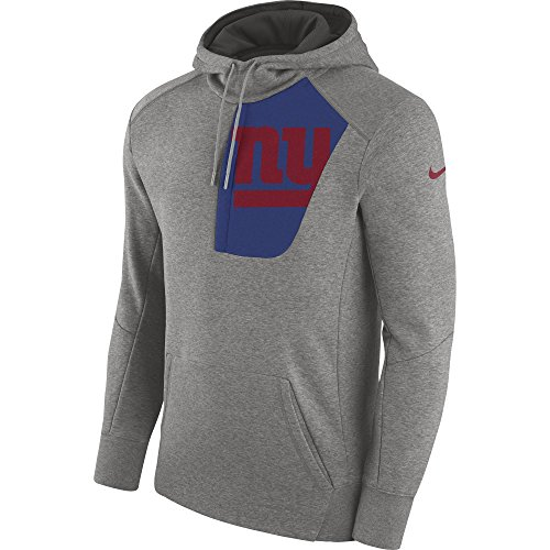 Men's Nike New York Giants Pullover Hoodie Fly Rush Dark Grey Heather/White/Gym Red Size Small