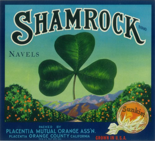 Shamrock Brand (Orange) Original Label (books folk art)