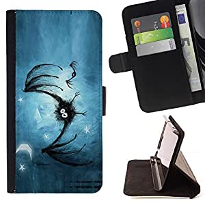 DEVIL CASE - FOR Samsung Galaxy S6 - Bat In The Stars - Style PU Leather Case Wallet Flip Stand Flap Closure Cover