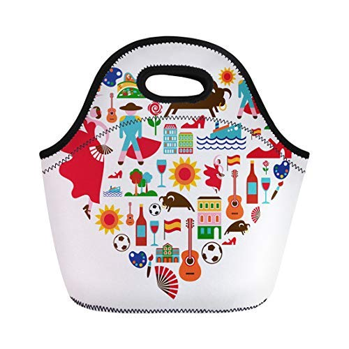 Vontuxe Insulated Neoprene Lunch Tote Bag Spanish Spain Love Barcelona Travel Flamenco Madrid Guitar Bullfight Outdoor Picnic Food Handbag Lunch Box for Men Women Children
