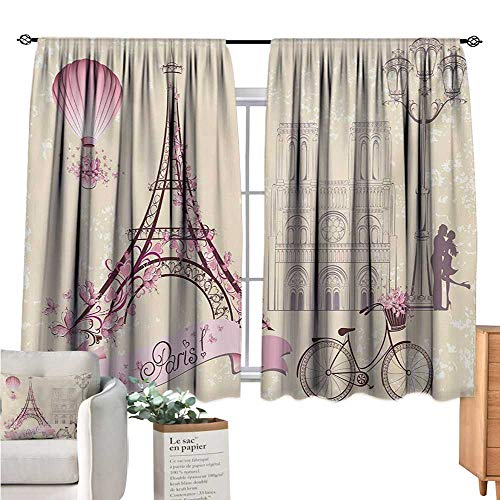 Warm Family Kiss Country Curtain Floral Paris Symbols Landmarks Eiffel Tower Hot Air Balloon Bicycle Romantic Couple Ivory Pink Short Curtain W63 x L72 (Short Paris)