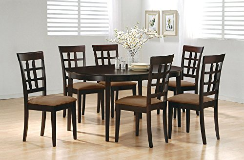 7pc Contemporary Cappuccino Finish Solid Wood Dining Table C
