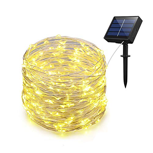 Adecorty Solar String Lights, Solar Fairy Lights 66ft 200 LED 8 Modes Silver Wire Lights Outdoor String Lights Waterproof Solar Decorative String Lights for Patio Garden Yard Party Wedding Christmas