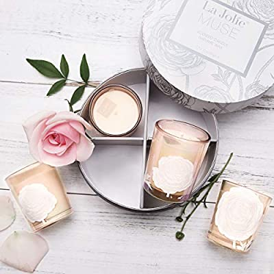 LA JOLIE MUSE Scented Candle Gift Set - Small Natural Soy Wax Votive Candles, 4 Pack 8.8 Oz Includes Jasmine Mint, Aquamarine, Orange Cinnamon & Cedarwood for Mother's Day Stress Relief